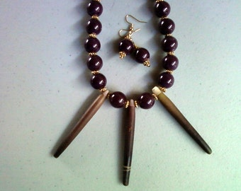 Chunky Sea Urchin Spine Necklace with matching Earrings (0050)