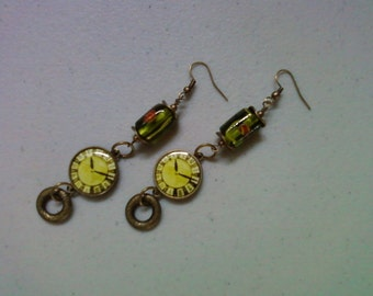 Green and Chartreuse Clock Earrings (1324)