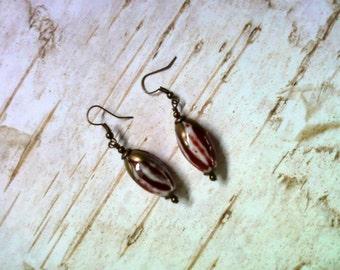 Red and White Ceramic Flower Bud Earrings (2083)