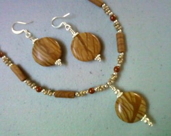 Wood Jasper Necklace and Earrings (0528)