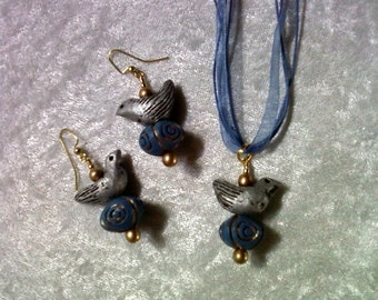 Silver, Blue and Gold Bird Necklace and Earrings (1127)