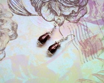Chocolate Brown Teardrop Earrings (1863)