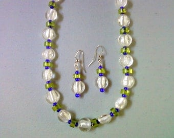 Crystal Silver Foil Glass Beaded Necklace and Earrings (0308)