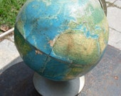 Vintage Rand McNally World Portrait Globe around 1968 on stand a with topographic detail project globe study globe vintage décor