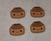 Feltie Machine Embroidered Hand made (4) Felt Cinnamon Bun Roll CUT Embellishments / appliques