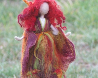 Needle felted Waldorf inspired Autumn Fall Fairy Art doll Nature table decoration