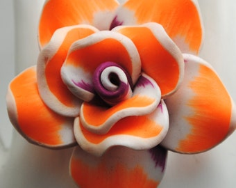 Orange Rose Ring/Gift For Her/Spring/Summer Jewelry/White/Purple/Statement Ring/Under 20 USD/Adjustable