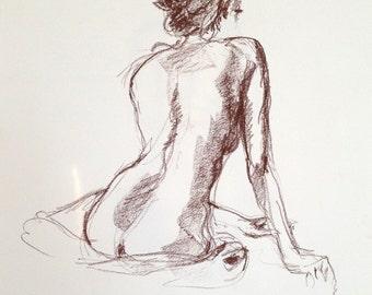 Original Pastel Drawing of Female Model Back View