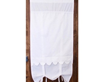 "White Tie Up Panel, Bathroom Sash Window Curtain, 28"" Length, Scallop Cotton Curtain"