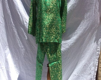 Vintage Green & Gold 60's Pant Suit