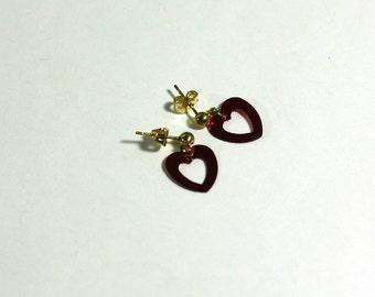 Red Heart Sequin Earrings: Red Open Heart Sequin Post Earrings, Girls Jewelry, Teens Earrings