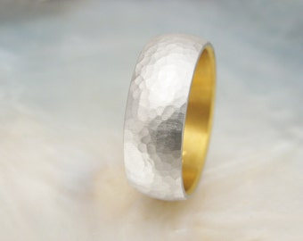 men's platinum band -- 8mm hammered wedding band with 24k gold liner, hand forged