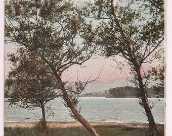 Massachusetts Postcard Pontoosuc Pittsfield MA Lake B & A Railroad