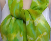 silk scarf chiffon Iris White Chartreuse unique hand painted wearable art