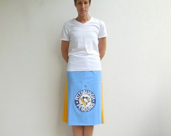 Pittsburgh Penguins TShirt Skirt Womens Tee Skirt NHL Hockey Knee Length Skirt Cotton Skirt Handmade Skirt ohzie