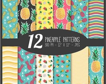 "Pineapple Patterns Digital Scrapbook Paper Background Set 12 Piece Digi Pack - 12"" x 12"" 300dpi JPEG - CU OK*"