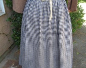 Dark blue, black and cream all linen colonial waist apron