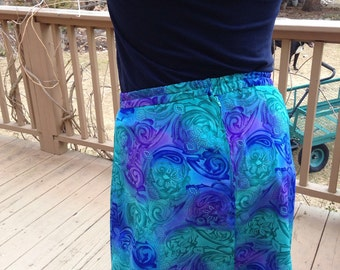 Ladies medium purple and green up cycled skirt
