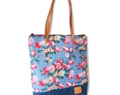 SALE-Waxed canvas -Totes bag ,leather strap, zip  totes  -Ready to ship