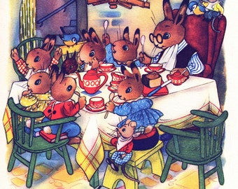 Rabbit family at tea time, vintage nursery print for boy or girl nursery decor
