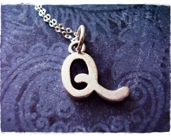 Silver Cursive Q Initial Necklace - Sterling Silver Cursive Initial Q Charm on a Delicate Sterling Silver Cable Chain or Charm Only