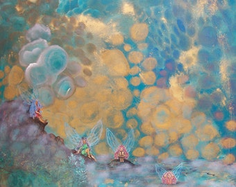 """Art Original Painting Abstract Surreal  Landscape & Scenic -Title-"""" Fairies"""""""