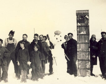 Taking Time Out From A TOBOGGAN RIDE To Build A SNOWMAN Photo 1929 South Dakota