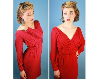 Red Silk Starlet Goddess Vintage Short Gown