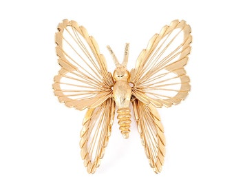 BUTTERFLY BROOCH MONET Jewelry Signed Designer Retro Vintage Costume Jewelry Gold Tone Metal Wings Bug Insect Gift