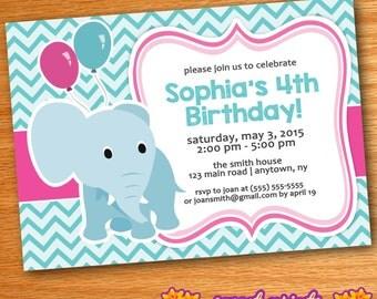 Printed Teal & Pink Chevron Elephant Birthday Party Invitation