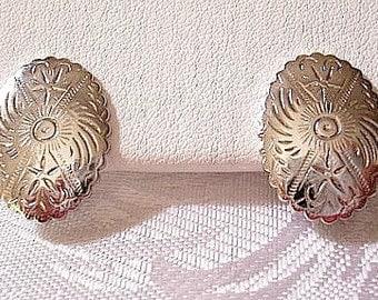 Monet Disc Pierced Earrings Silver Tone Vintage Scallop Edge Decorative Imprinted Design