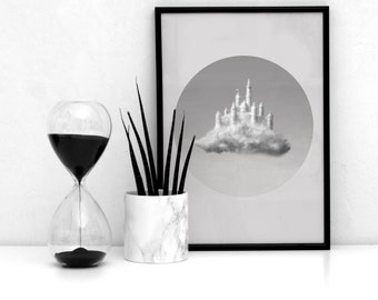 Office Poster / Bedroom Poster / Living Room Decor / Bedroom Decor / Black and White Poster / Modern Print / Clouds Wall Geometric Art