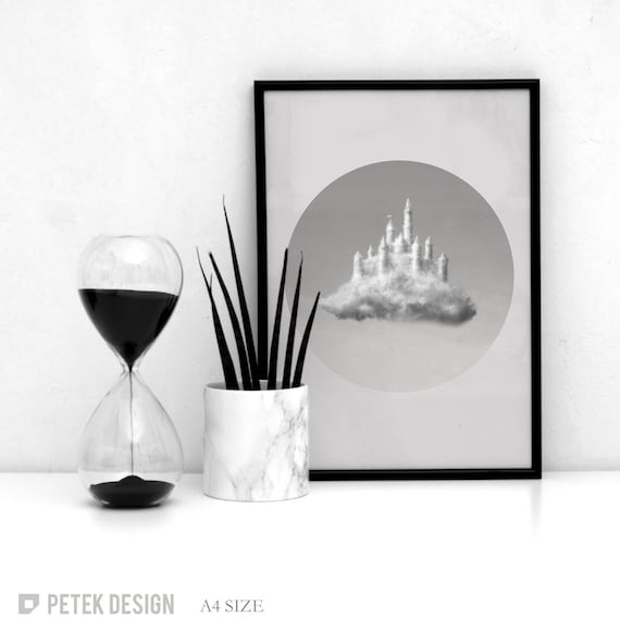 SALE: Office Poster / Bedroom Poster / Living Room Decor / Bedroom Decor / Black and White Poster / Modern Print / Clouds Wall Geometric Art