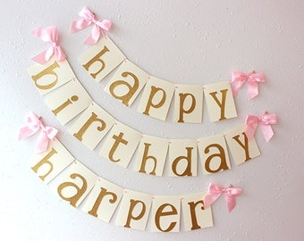 Pink and Gold Birthday Party Decorarations.  Handcrafted in 2-3 Business Days.  Glitter Gold Happy Birthday Banner.