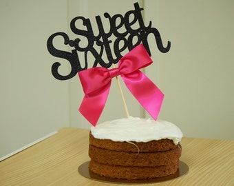 Sweet 16 Cake Topper.  Handcrafted in 2-3 Business Days.  Sweet 16 Decoration.