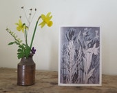 Blank art card greetings card A6  6 x 4 inch Wild flowers from canal towpath walk Modern floral organic botanical design Duck egg blue