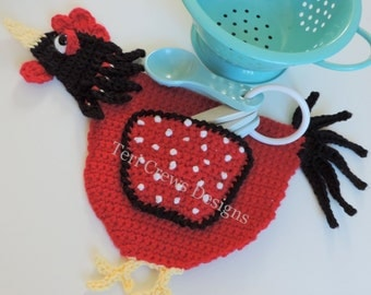 Rooster Potholder Decor Amigurumi Crochet Pattern by Teri Crews Instant Download PDF
