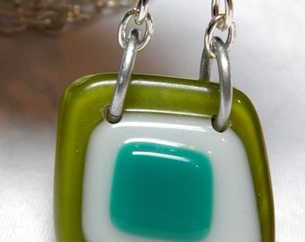 Necklace: Gorgeous Fused Glass Pendant on Silver (or Custom) Chain Green, White and Teal Modern Statement Jewelry Vintage Pendant New Piece