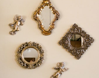 Mirrors and Cherubs Wall Arrangement / Three Small Mirrors and Two Cherubs / Golds Silver Bronze Colors
