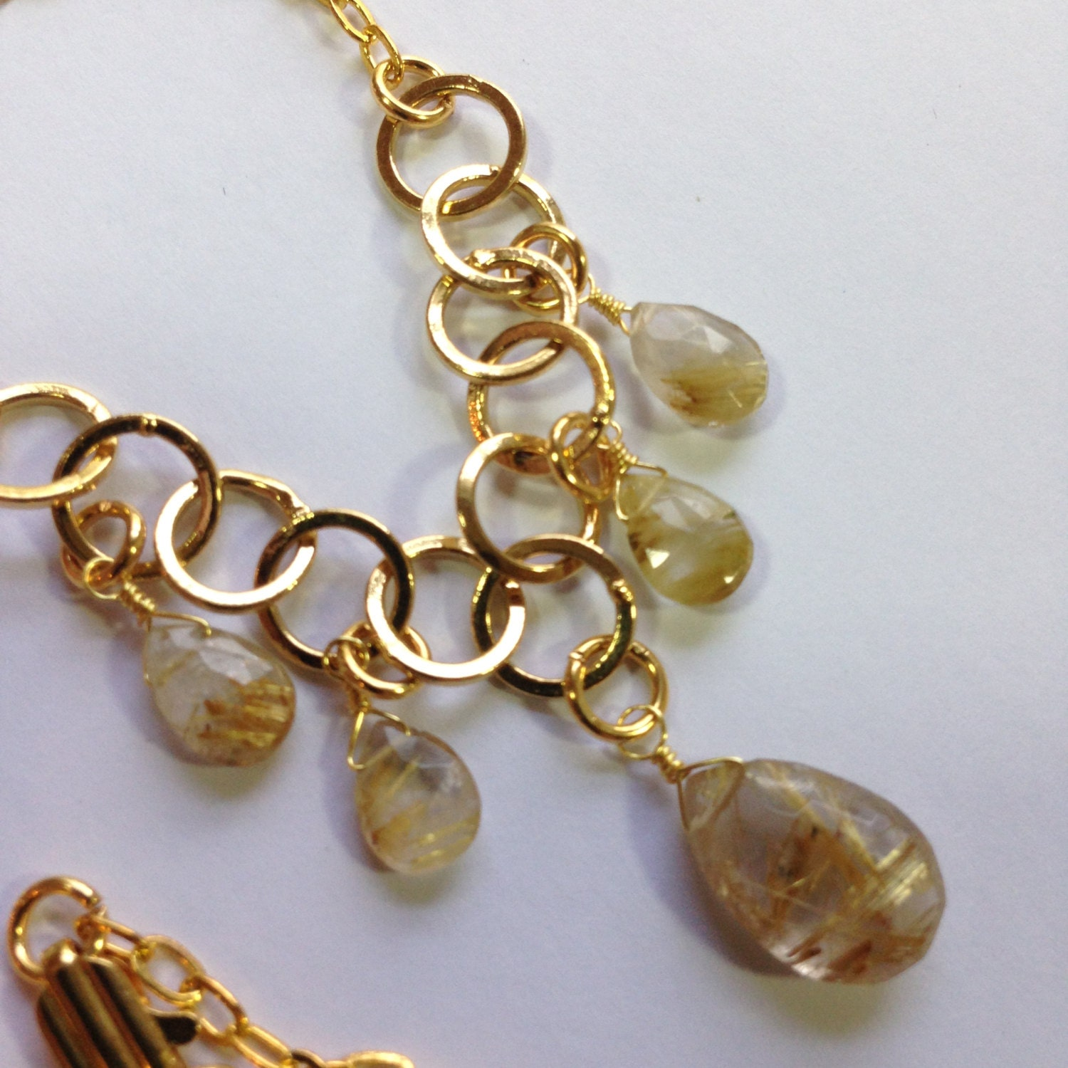 Golden rutilated quartz multi drop gold necklace by for Golden rutilated quartz jewelry