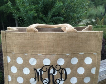 Monogrammed Polka Dot Burlap Bag
