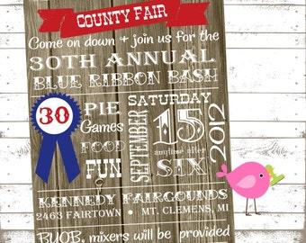 Blue Ribbon Bash Invites: 5x7 Invitation. Invite. Birthday. County Fair. Carnival. Fairgrounds. Subway Invitation. Farm. Country Wood