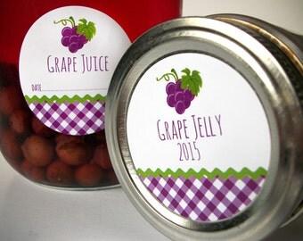 Gingham Grape canning labels, round purple mason jar labels for fruit preservation, grape jelly label, grape jam, grape juice & preserves