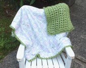 Pink green flower baby girl blanket pink green baby girl blanket crochet blanket flannel blanket double sided blanket