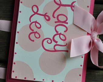Bow Holder --- Hot Pink and Light Pink SIMPLICITY Design -  Handpainted and Personalized Hair Bow Holder