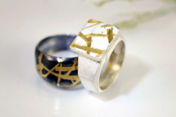 Signet ring, silver statment ring, 24k gold keum boo, unique men's ring