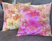 Batik Fabric Pillow, Dragonfly Pillow Cover, Designer Pillow, Couch Pillow, Cottage Home Decor, Pillow with Dragonfly