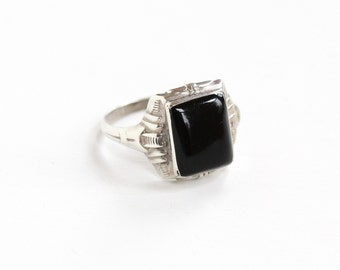 Sale - Vintage Art Deco Sterling Silver Simulated Onyx Ring - Size 10 1920s 1930s Statement Geometric Statement Men's Jewelry