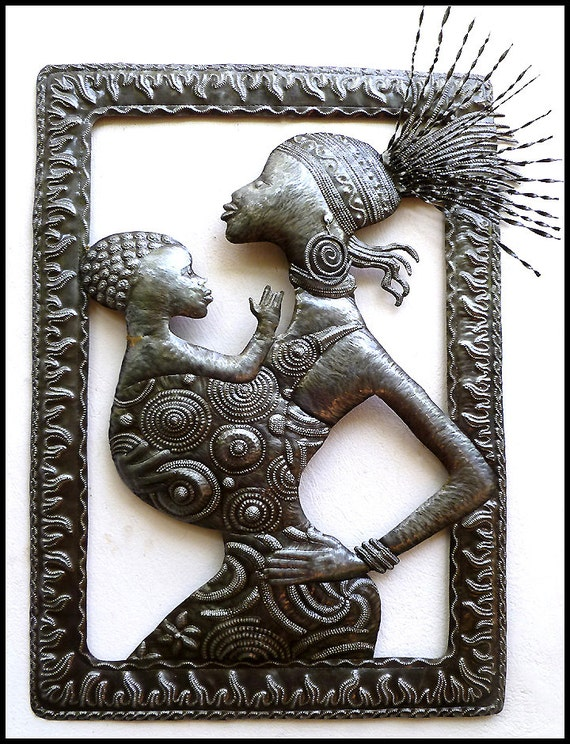 Metal wall hanging african ethnic art haitian steel drum for African wall art