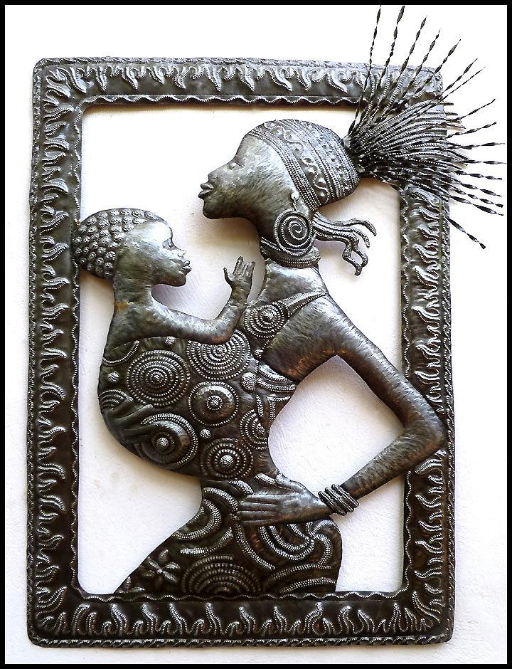 Metal Wall Hanging African Ethnic Art Haitian Steel Drum